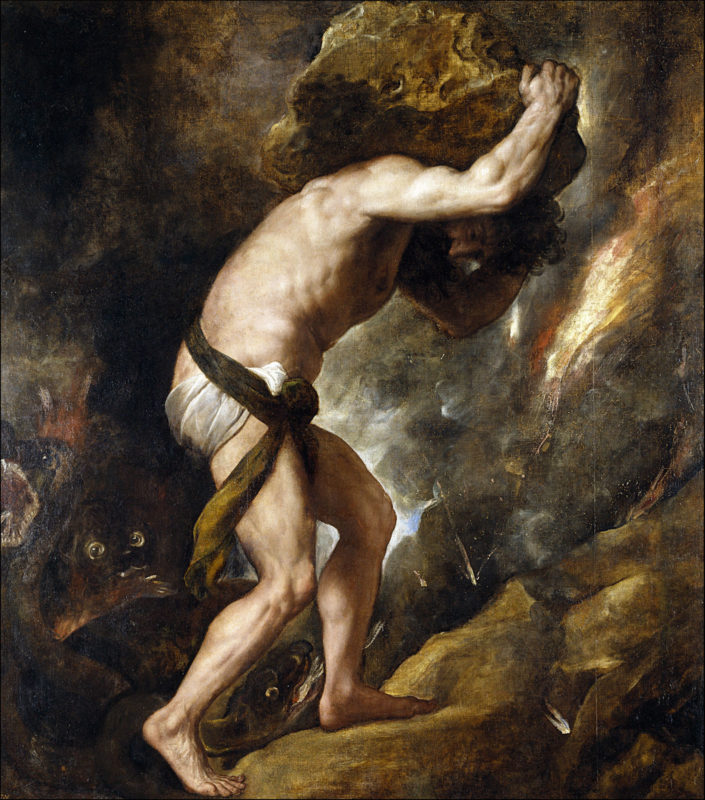 An image of the painting of Sisyphus, by Titian